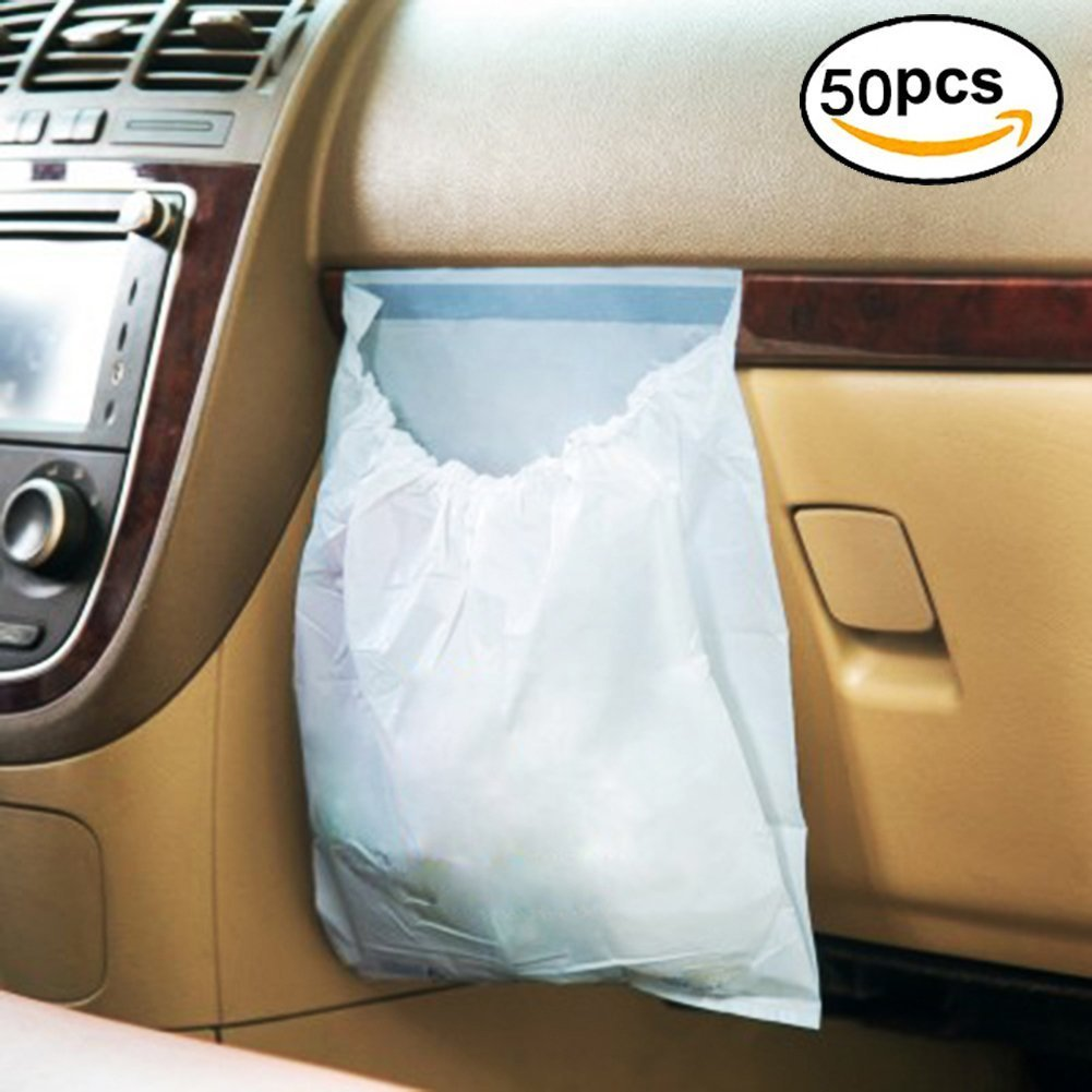 50Pcs Car Garbage Bag Disposable Home-Neat Auto Trash Bag for Litter Large Capacity Leak-Proof Portable Convenient
