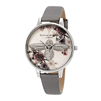 255cad9994c Amazon.com  Olivia Burton Embroidered Dial 3D Bee Grey Dial Ladies Watch  OB16EM05  Watches