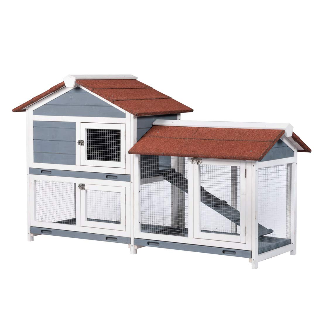 Good Life Two Floors 62'' Wooden Outdoor Indoor Roof Waterproof Bunny Hutch Rabbit Cage Guinea Pig Coop PET House for Small to Medium Animals with Stairs and Cleaning Tray PET537 by GOOD LIFE USA
