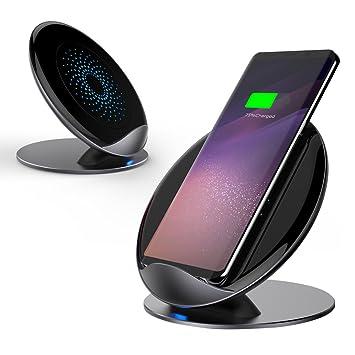 Metal Rápido Cargador Inalámbrico para iPhone X, iPhone 8/8 Plus Qi Fast Wireless Soporte de Carga Pad para Samsung Galaxy S9/S9 Plus S8/S8 Plus S7/S7 ...