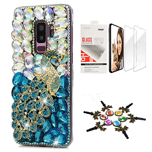 (STENES Galaxy S9 Plus Case - STYLISH - 3D Handmade [Sparkle Series] Bling Peacock Design Cover Compatible with Samsung Galaxy S9 Plus with Screen Protector [2 Pack] - White&Blue)