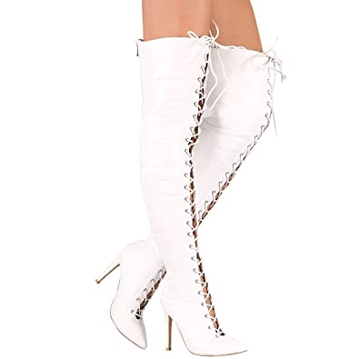 Womens Pointy Toe Stiletto Heel Quilted Puffy Lace Up Over The Knee High Boots