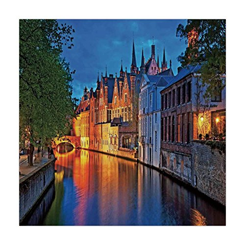 (Satin Square Tablecloth,Medieval Decor,Night Shot of Historic Middle Age Building along the River in Bruges Heritage Old Town Photo,Multi,Dining Room Kitchen Table Cloth Cover)