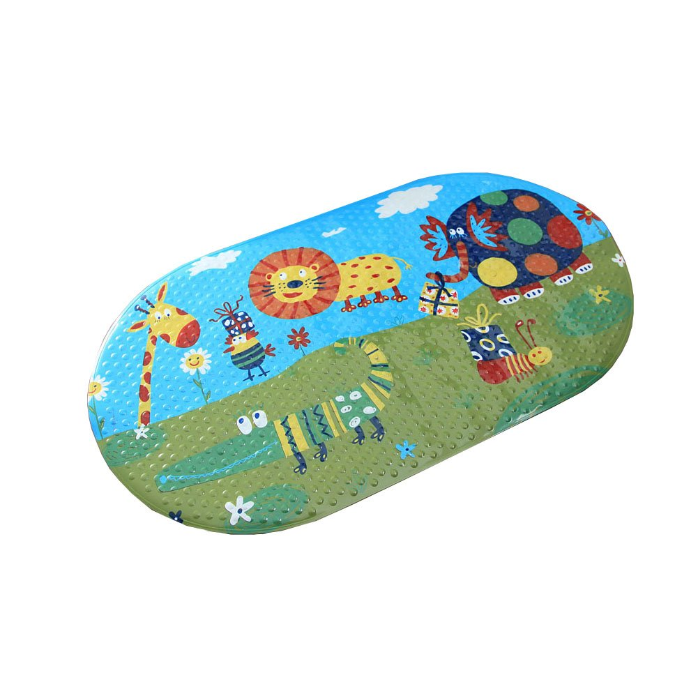 Kylin Express Lovely Animal Kingdom PVC Non-Slip Bath Mat with Suction Cups