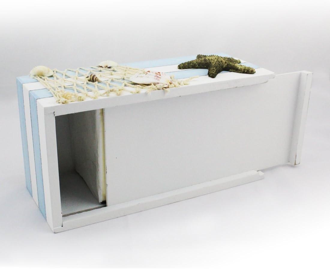 Hotel Ristorante Landove Mediterraneo Scatola Porta Fazzoletti di Carta in Legno Blanco Vintage Shabby Chic Tissue Box Organizer per Casa Auto