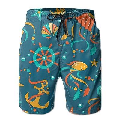 Usieis The Underwater World Surfing Pocket Elastic Waist Men's Beach Pants Shorts Beach Shorts Swim Trunks