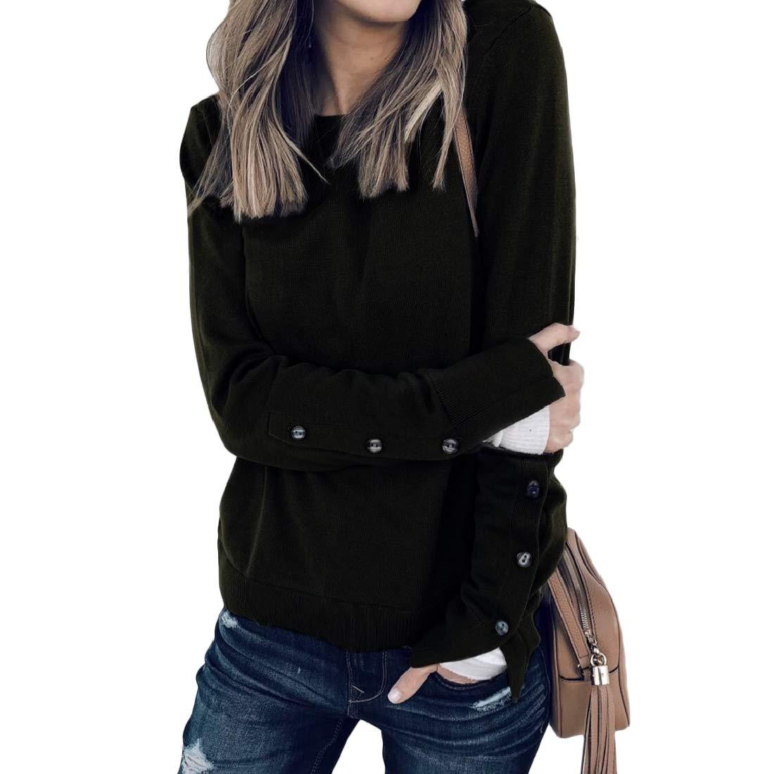 Coolred-Women Scoopneck Tee Basic Split Button Long Sleeve Shirt