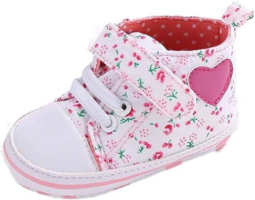 Fossen Reci/én Nacido Zapatos Primeros Pasos Bebe Ni/ña Forma de coraz/ón Antideslizante Suela Blanda Zapatos
