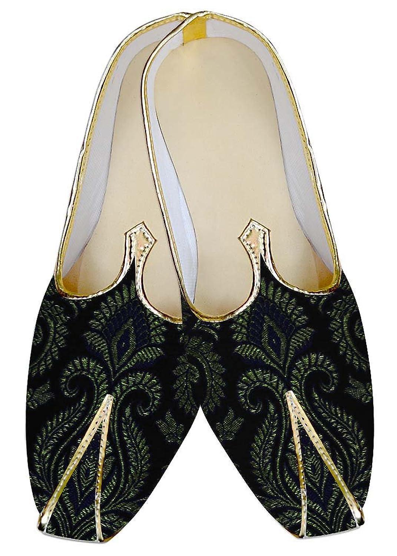 INMONARCH Hombres Zapatos de Bodas de Oro y Negro MJ013146 42.5 EU