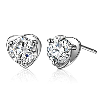 0b696747b LARESDOMI 925 Sterling Silver elegant bridal stud earrings made with  sparkling Cubic zirconia crystals (Love Crystal): Amazon.co.uk: Jewellery