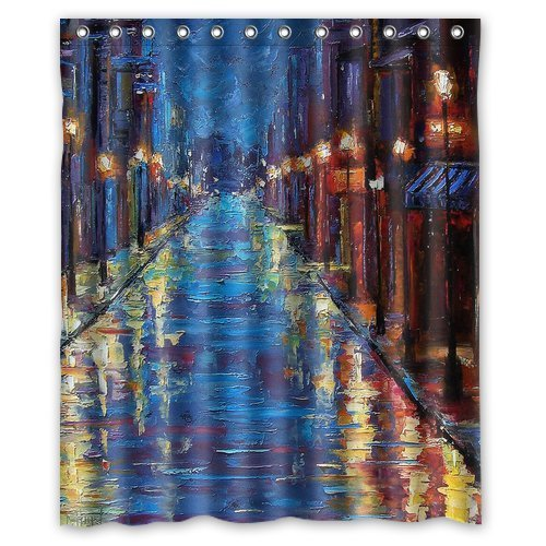 New orleans bourbon street Watercolor painting Shower Curtain, Shower Rings Included 100% WaterProof Polyester Fabric Bath Shower Curtain 72x72 IN ()
