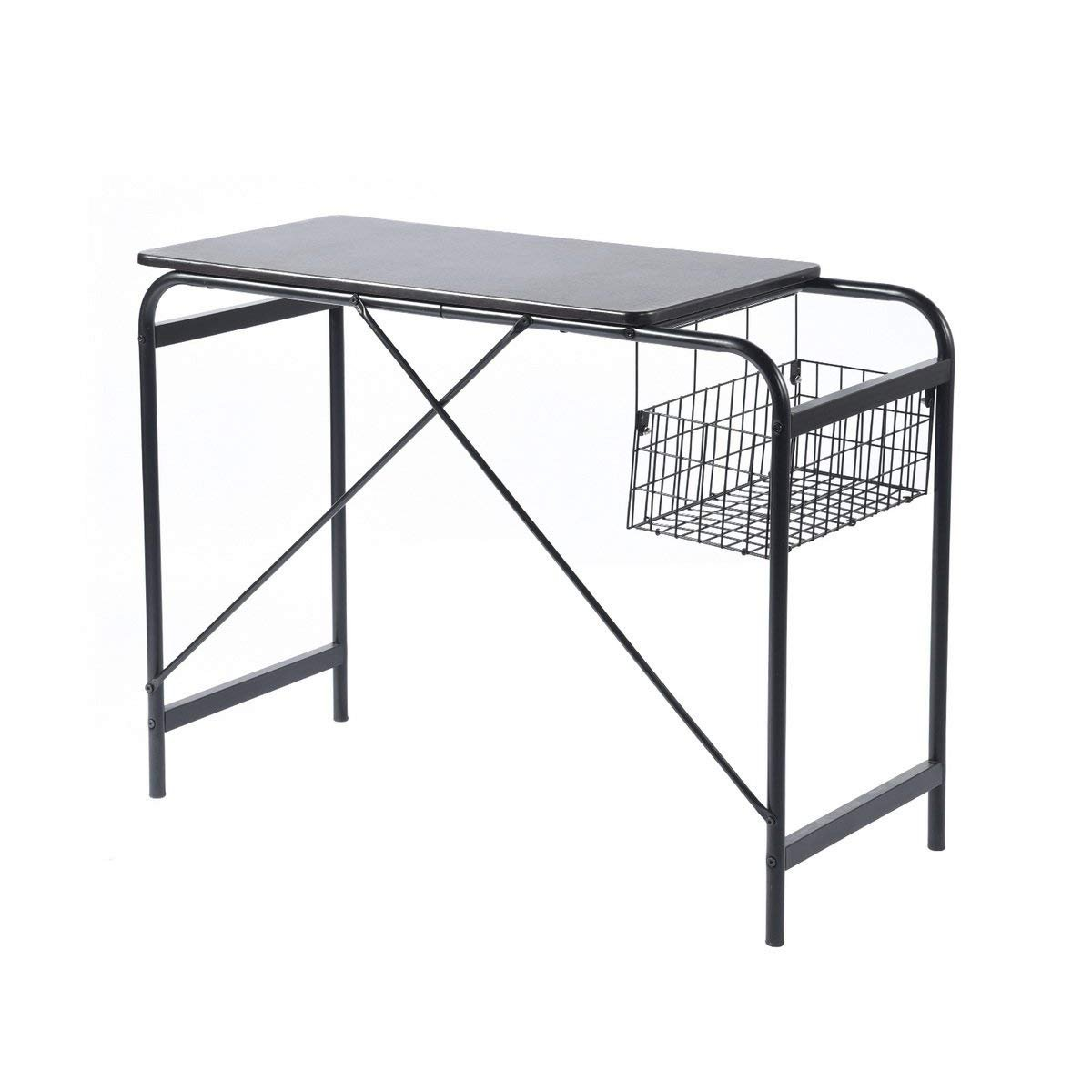 Computer Writing Desk With Metal Basket Storage Industrial Modern Simple Black Wooden Study Workstation Space Saving Table Ideal for Home Office Dormitory Small Room or Corner, Dark Brown Coavas