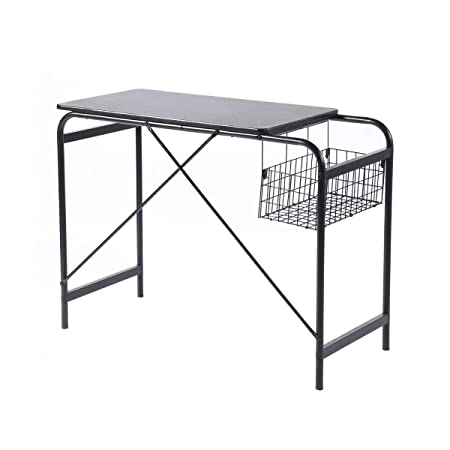 Computer Writing Desk With Metal Basket Storage Industrial Modern Simple  Black Wooden Study Workstation Space Saving