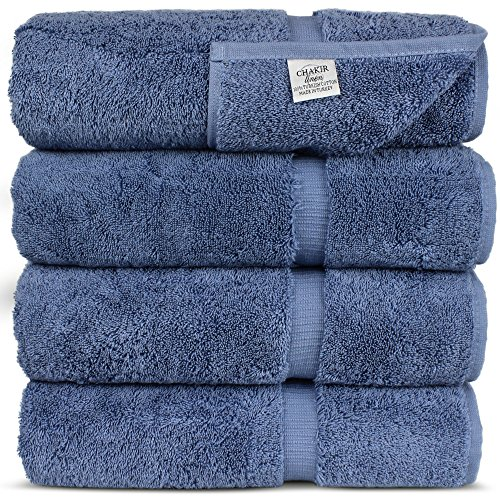 Luxury Hotel & Spa Towel Turkish Cotton (Bath Towel – Set of 4, Wedgewood)