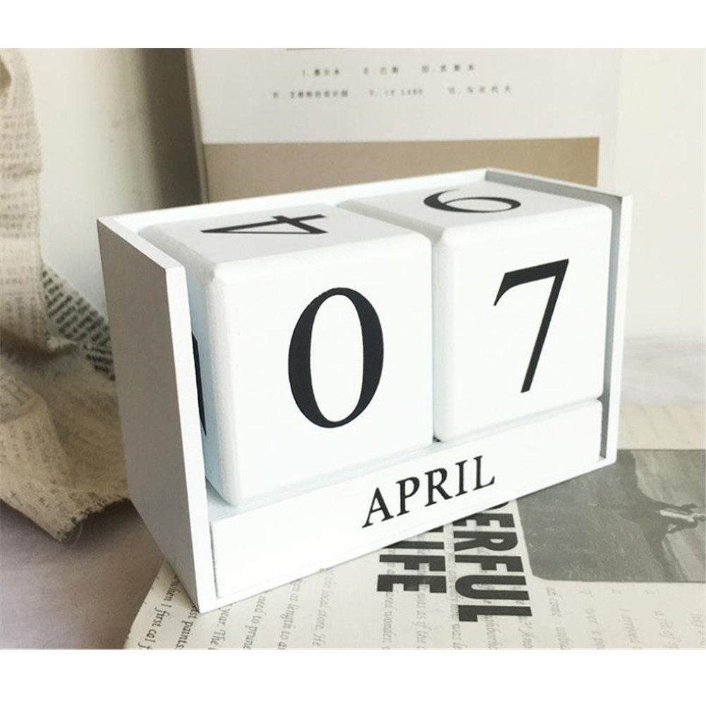 Obling Wood Blocks Perpetual Calendar Desk Accessory Chic Day Month Number for Home and Office (Black) B-Ling