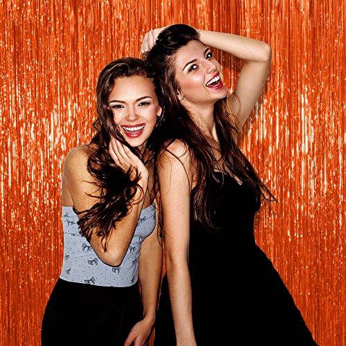 Orange Foil Fringe Tinsel Curtains Photo Booth Backdrop
