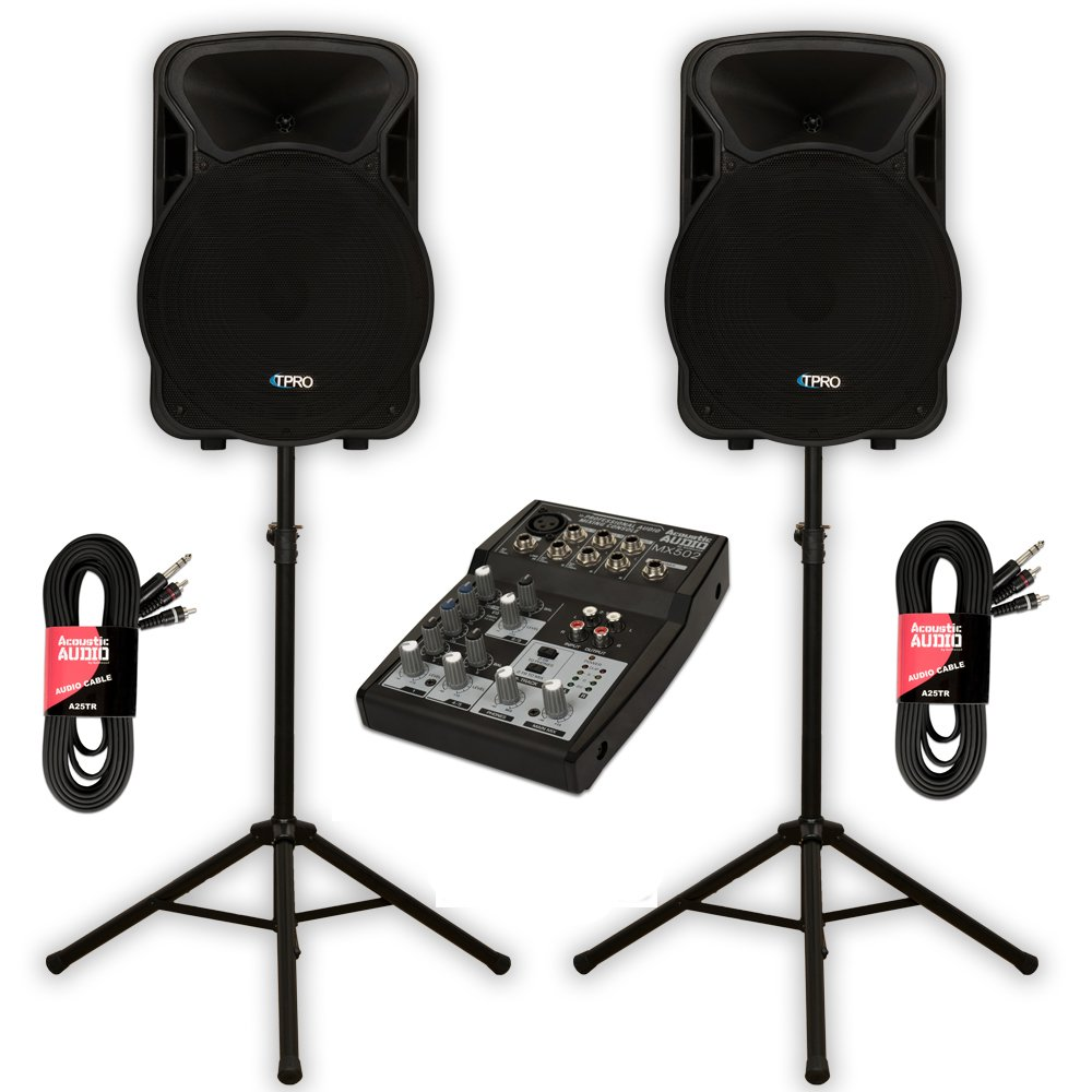 Technical Pro PVOLT15BT Bluetooth 15'' Active 3000W Speakers with Mixer and Stands DJ Set