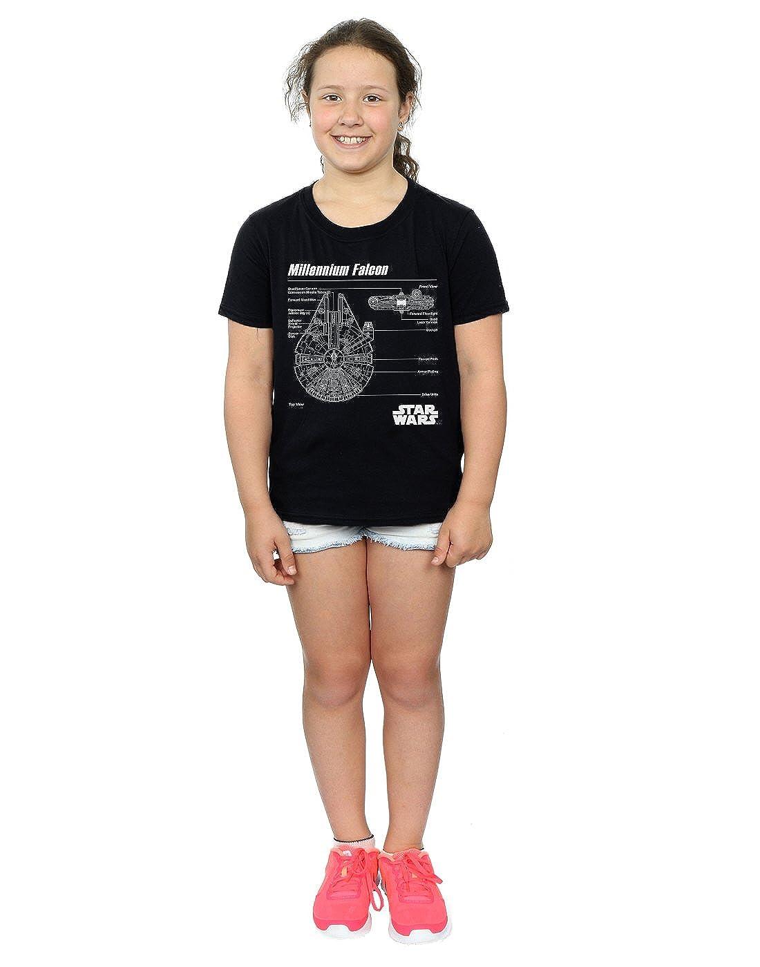 Star Wars niñas Millenium Falcon Blueprint Camiseta: Amazon.es: Ropa y accesorios