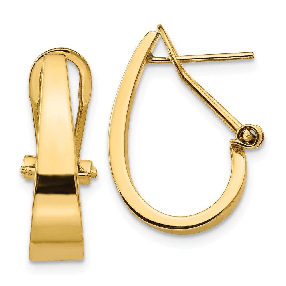 14K Yellow Gold Polished J-Hoop Omega Back Post Earrings