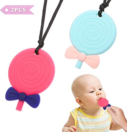 Silicone Baby Teether Pendant Teething Chew Necklace Bite Lollipop Nursing Toys