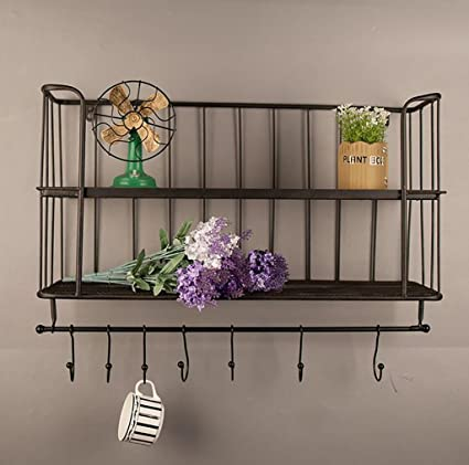 decorative wall bookshelves shelving wall bookshelves loft retro iron solid wood bookshelf barshopliving room amazoncom bookshelf