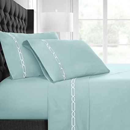 Egyptian Luxury Embroidered Bed Sheet Set U2013 Ultra Soft Premium 1500 Series  W/ Beautiful Fretwork