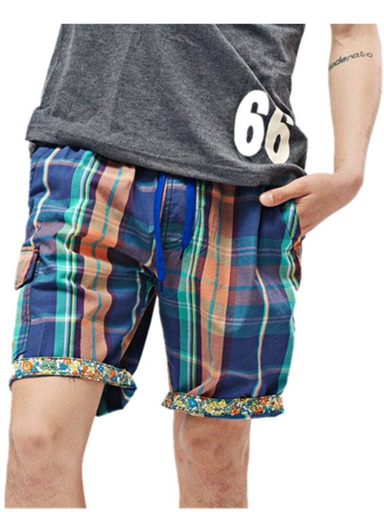Ussuperstar Men's 100% Cotton Graphic Boardshorts Swim Trunk Pockets