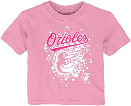 Outerstuff Baltimore Orioles Blank Girls Youth White Pink Cool Base Jersey