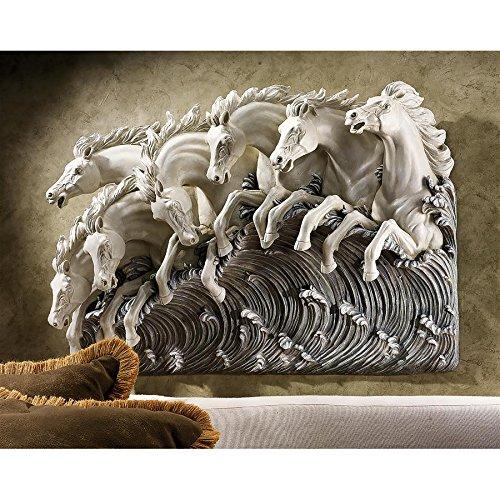 Design Toscano Neptune's Horses of the Sea Sculptural Wall Frieze