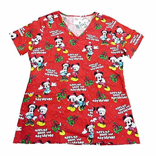 amazoncom disney mickey mouse womens red mistletoe medical smock nurse scrubs shirt top clothing - Christmas Scrub Top