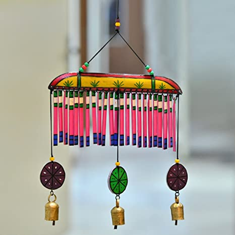 ExclusiveLane Home Decorative Hanging Cum Outdoor Garden Bells Wind Chime (Multicolour, Wood)