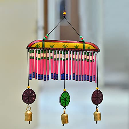 ExclusiveLane Wooden Handpainted Multicolored Bell Hanging Wind Chime