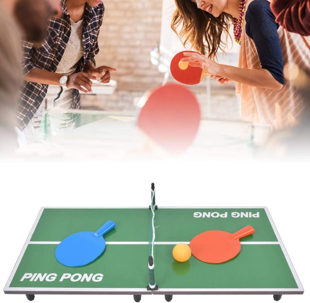 Juego de mesa de ping pong plegable, mini mesa de juego de tenis compacta y multiuso portátil con red para salas de juegos familiares/uso interior/exterior/entretenimiento familiar
