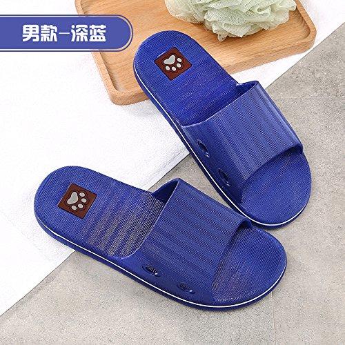 YMFIE Para los Amantes de Las Zapatillas de Verano Piso Suave Interior de Damas Zapatillas Navy Blue