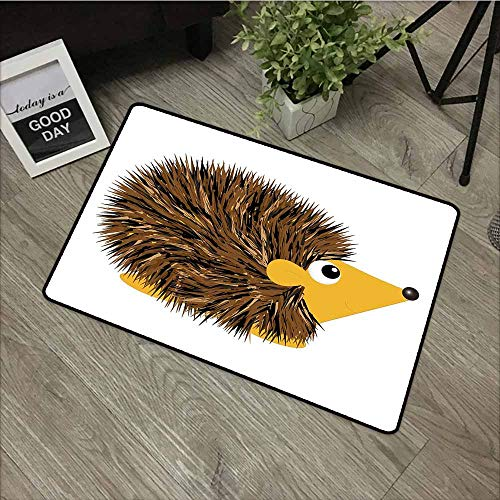 - LOVEEO Modern Doormat,Hedgehog Cartoon Animal with a Happy Smile on Its Face Hedgehog Illustration Spikes,Anti-Slip Doormat Footpad Machine Washable,31