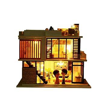 Amazon Com Per Newly Dollhouse Kit Miniature Diy Cabin Wooden