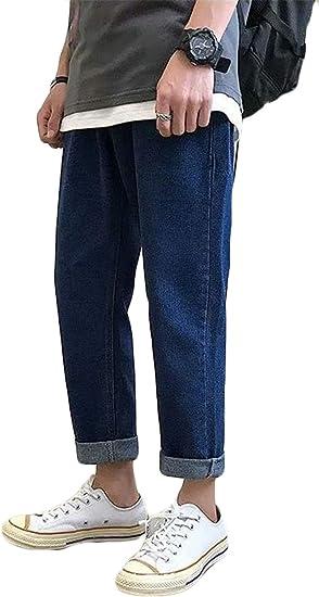 (ショッフェ) ジーンズ メンズ ジーパン デニムパンツ 九分丈 シンプル カジュアル オールシーズン ストリート ズボン カジュアル ボトムス ゆったり アメカジ 大きいサイズ おしゃれ 春