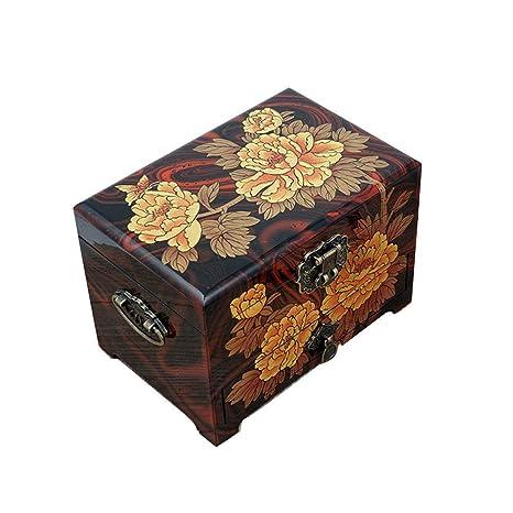 YDJGY Caja Joyero, Cofre de Tesoro de Caoba de Gran tamaño de ...