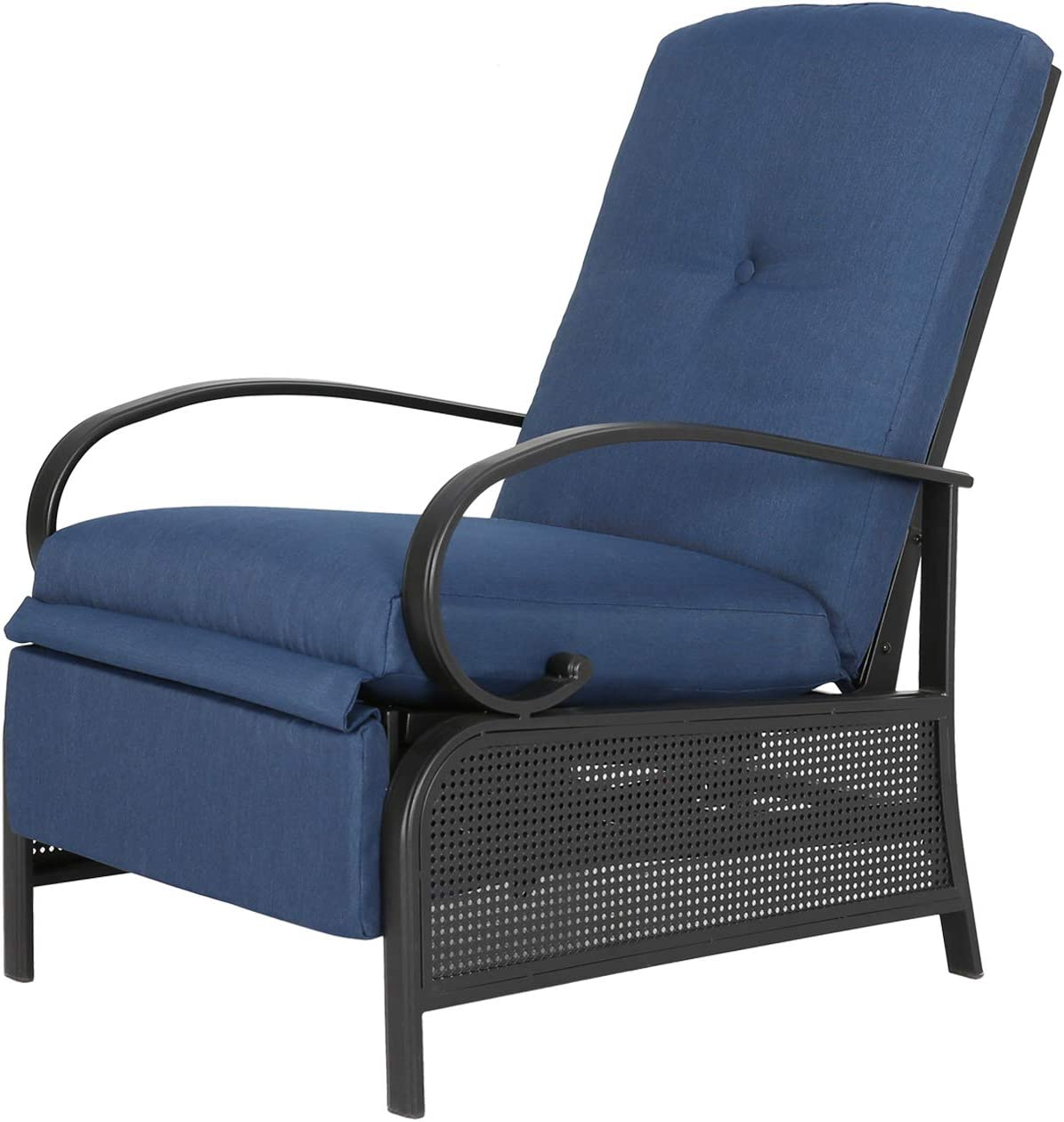 Ulax Furniture Patio Recliner Chair Automatic Adjustable Back Outdoor Lounge Chair with 100% Olefin Cushion (Navy Blue)