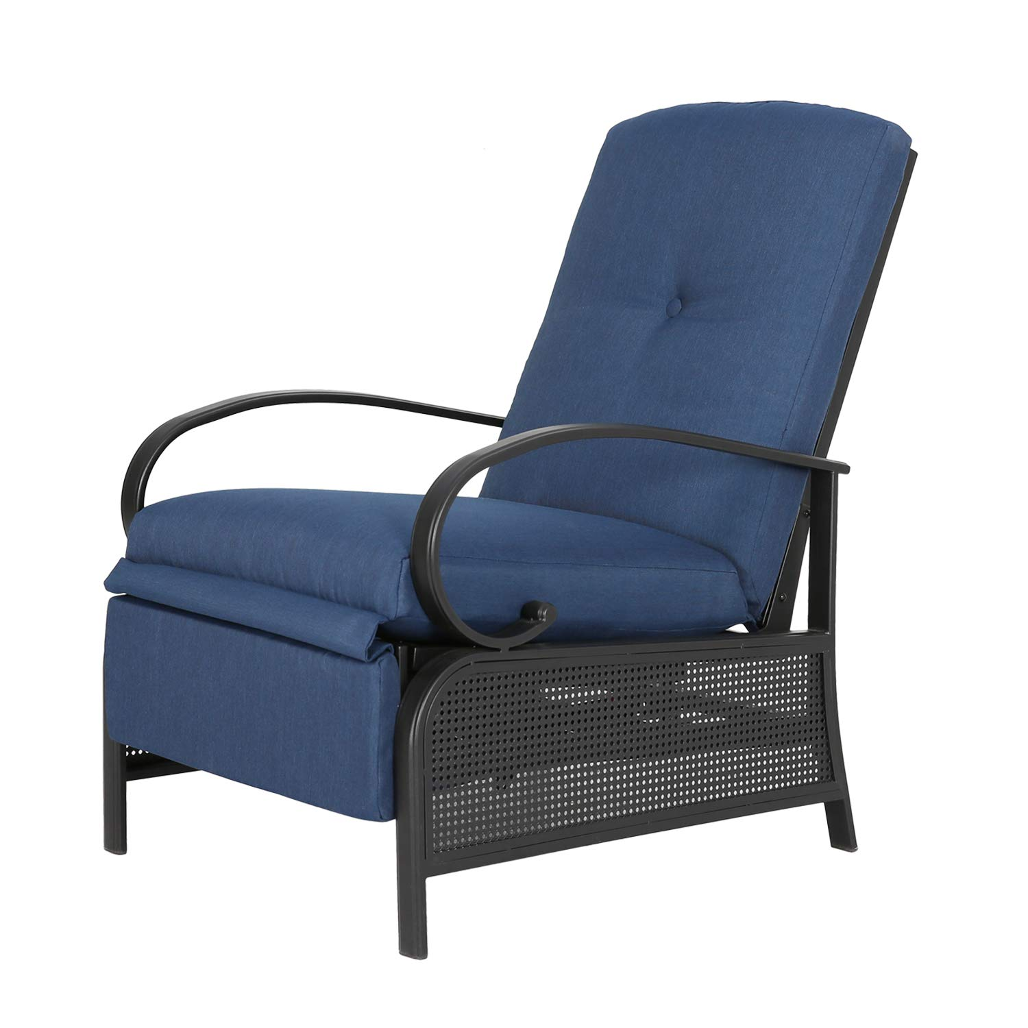 Ulax Furniture Patio Recliner Chair Automatic Adjustable Back Outdoor Lounge Chair with 100 Olefin Cushion Navy Blue