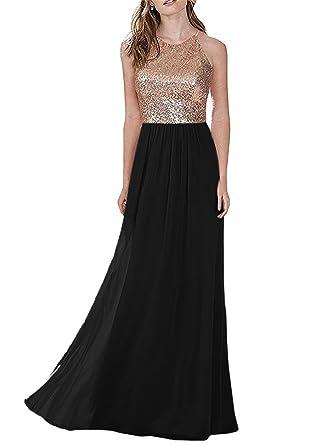 e0348a27d988 Lily Wedding Womens Long Halter Sequin Chiffon Bridesmaid Dress Sleeveless  Aline Prom Party Dress LW02 Size