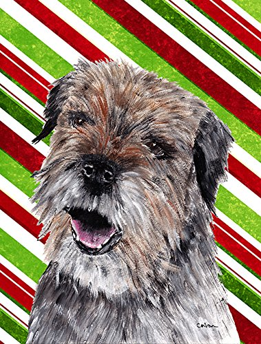 Caroline's Treasures SC9613GF Border Terrier Candy Cane Christmas Flag, Small, Multicolor (Cane Terrier)