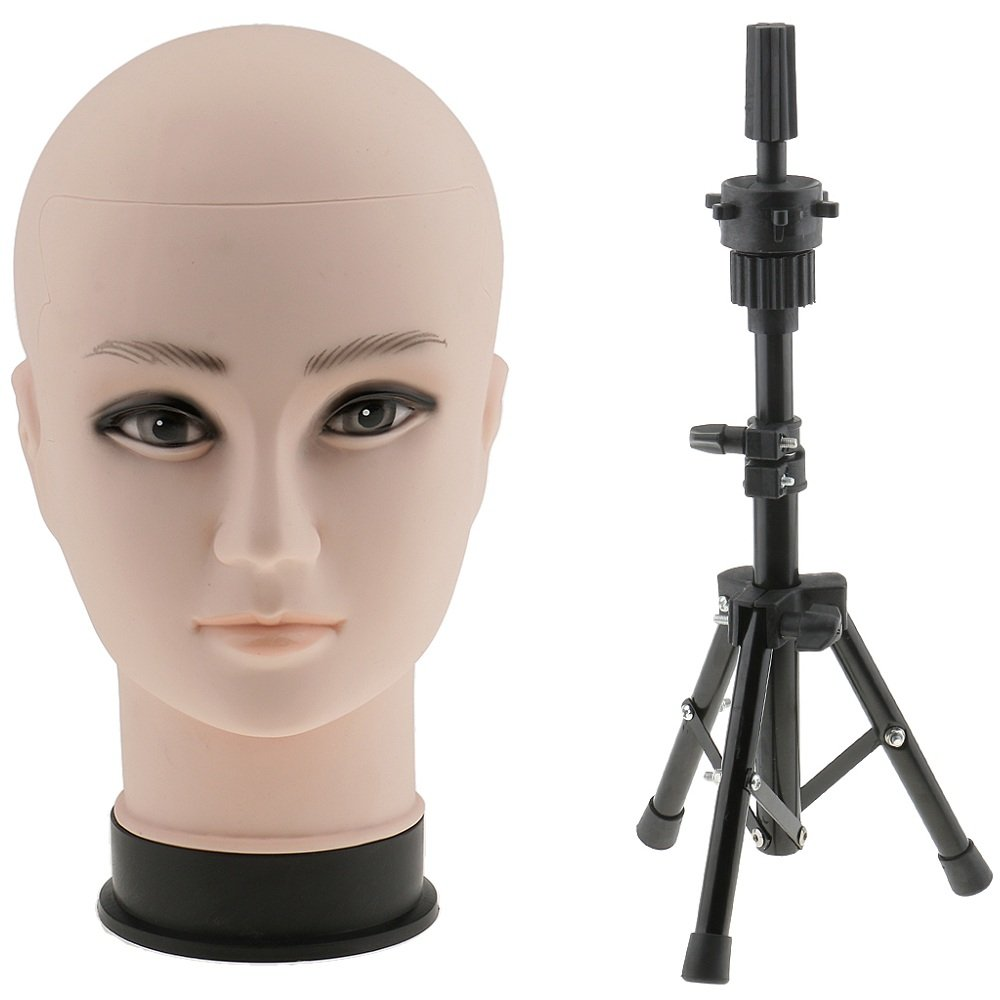 Baoblaze 22 inches Stunning Plastic Cosmetology Mannequin Head for Wig Making Hat Glasses Displaying with Heavy Duty Tripod Model Support Stand