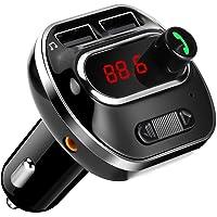 ARINO Transmetteur FM Bluetooth Kit de Voiture sans Fil Mains-Libres Adaptateur Radio Chargeur Voiture avec Double Port USB, Affichage LCD, Carte TF, pour iPhone/Android Couleur Noir
