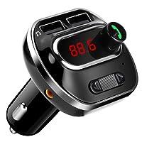 ARINO Transmetteur FM Bluetooth Kit de Voiture Sans Fil Mains-libres Adaptateur Radio Chargeur Voiture avec Double Port USB, Entrée AUX, Affichage LCD, Fonction Mémoire, Carte TF, pour Iphone, Smartphone IOS / Android Couleur Noir