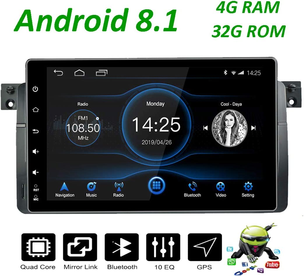 Android 8.1 Octa Core Radio Coche 32G ROM 9inch IPS Touch Screen Headunit with Bluetooth Support WiFi SD//USB RDS LEXXSON Android Car Est/éreo GPS Navigation para BMW E46 1999-2004