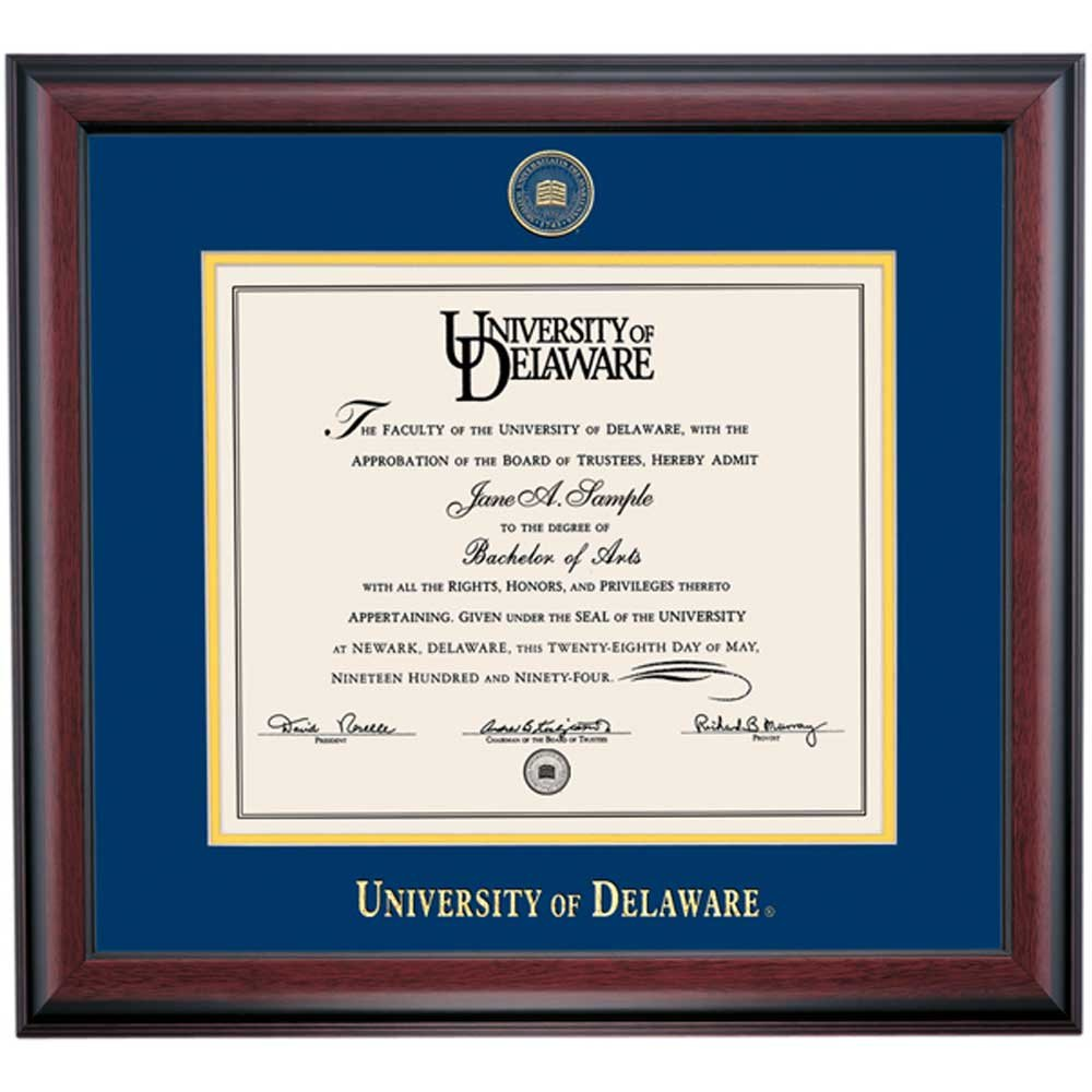 Campus Linens Delaware Blue Hens Diploma Frame for Law Blue Yellow Matting Embossed Seal