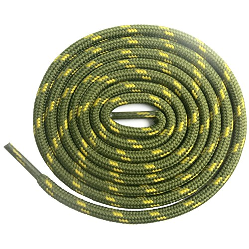 Boots Military Lace (DELELE 2 Pair Non-slip Outdoor Mountaineering Hiking Walking Shoelaces Round Army Green Yellow String Rope Boot Laces Strong Durable Bootlaces-47.24