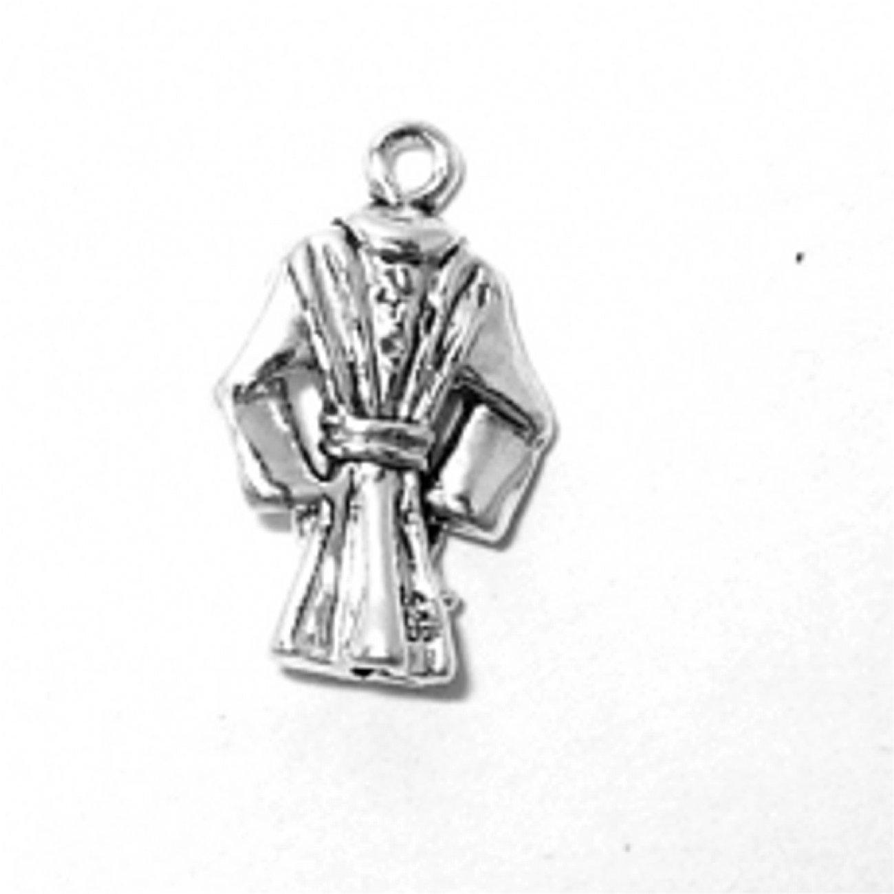 Sterling Silver 30'' Men's 1.5mm Box Chain 3D Bath Robe Coat Pendant Necklace