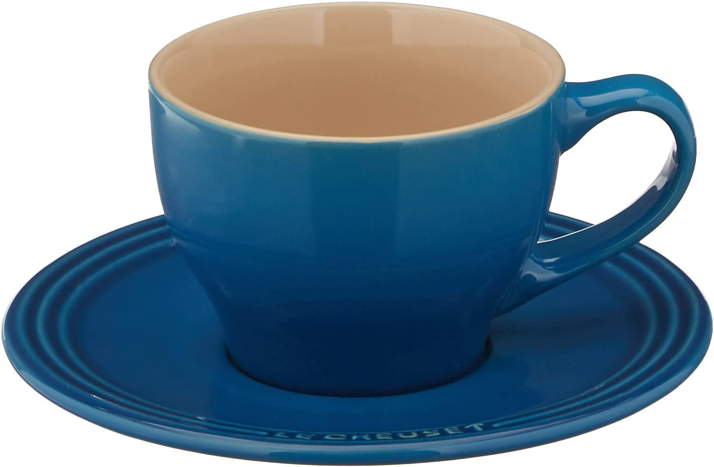 Le Creuset Stoneware Set of 2 Cappuccino Cups and Saucers Oyster